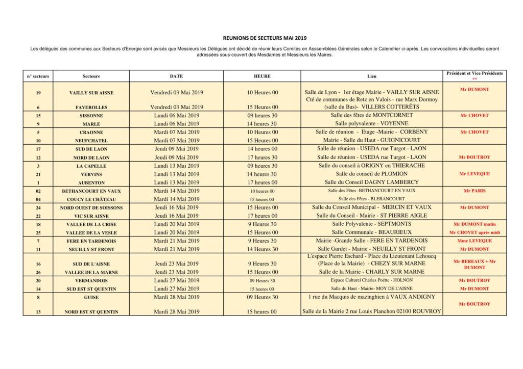 Calendrier des réunions de secteurs