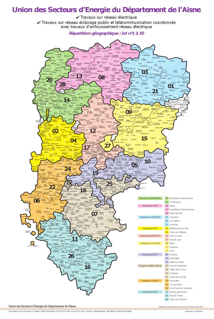 Carte des lots travaux (1 à 10)