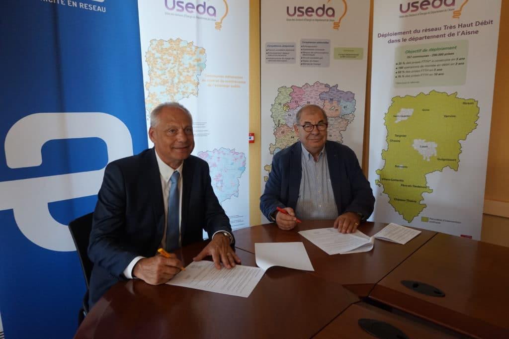 Signature de la convention de partenariat entre l'USEDA et Enedis pour les bornes de recharge